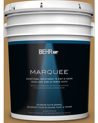 BEHR MARQUEE 5 gal. #S300-6 Harvest Time Satin Enamel Exterior Paint and Primer in One
