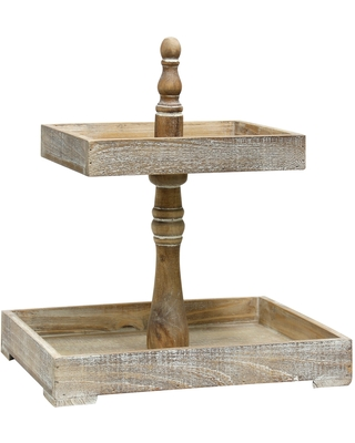 Rectangular Two Tiered Distressed Wood Tray