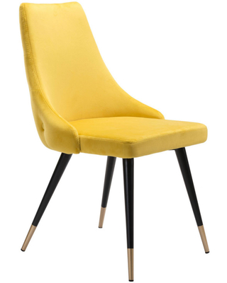 Zuo Modern Piccolo Dining Chair Set of 2 Yellow Velvet 101091