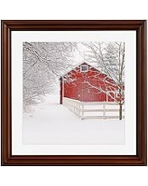 """Red Barn in the Snow by Cindy Taylor, 18 x 18"""", Ridged Distressed, Espresso Mat"""