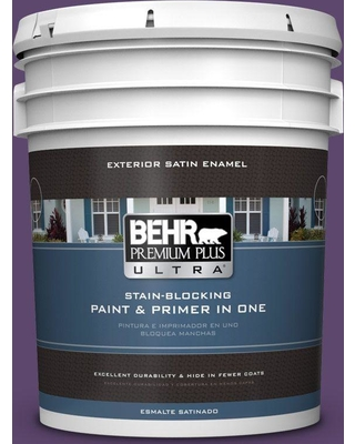 BEHR Premium Plus Ultra 5 gal. #S-G-660 Wild Grapes Satin Enamel Exterior Paint and Primer in One