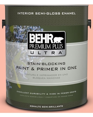 BEHR Premium Plus Ultra 1 gal. #200A-3 Blushing Apricot Semi-Gloss Enamel Interior Paint and Primer in One