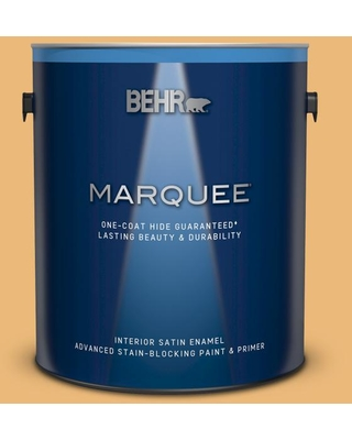 BEHR MARQUEE 1 gal. #BXC-61 Early Harvest Satin Enamel Interior Paint and Primer in One