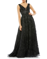 Mac Duggal Floral Embroidered V-Neck Gown, Size 8 in Black at Nordstrom
