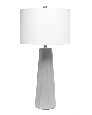 Lalia Home 30.5 in. White Concrete Pillar Table Lamp with White Fabric Shade