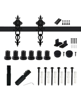 Savings On Winsoon 5 Ft 60 In Black Interior Modern Country Rustic Wood Barn Door Closet Hardware Track Kit For Single Door Frosted Black
