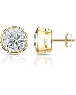14k Gold 2ctw Bezel-set Lab Grown Diamond Stud Earrings by Ethical Sparkle (Yellow)