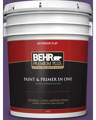 BEHR Premium Plus 5 gal. #S-G-660 Wild Grapes Flat Exterior Paint and Primer in One