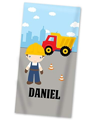 Construction Beach Towel - Big City Worker Dump Truck Personalized Name Light Weight Pool Towel