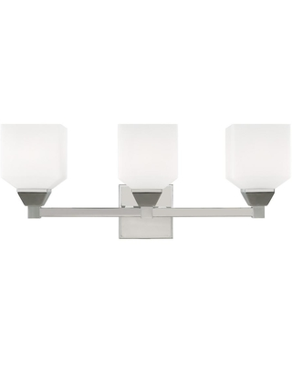 Livex Lighting Aragon 4.75 in. 3-Light Polished Chrome Vanity Light with Satin Opal White Glass