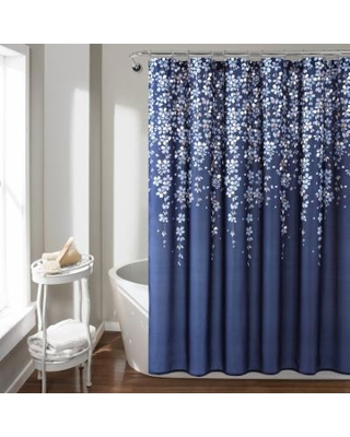 Lush Decor Weeping Flower Shower Curtain, Blue, 72X72