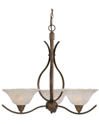 Toltec Lighting 293-BRZ-731 Swoop Three-Light Uplight Chandelier Bronze Finish with Frosted Crystal Glass Shade, 10-Inch