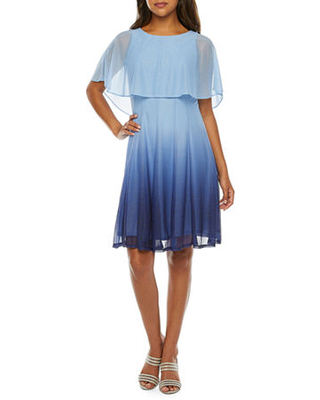 J Taylor Sleeveless Ombre Fit & Flare Dress, 14 , Blue