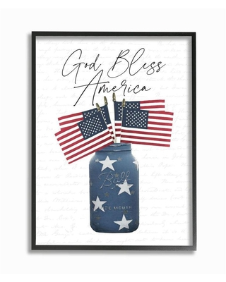 Stupell Industries Framed 20-in H x 16-in W Patriotic Wood Print in White | AB-033-FR-16X20