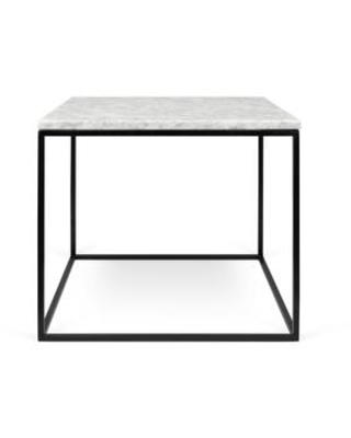 Gleam Collection 9500625985 20x20 Marble Side Table in White Marble and Black Lacquered Steel