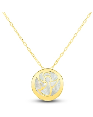 Jared The Galleria Of Jewelry Mother-of-Pearl Angel Necklace 14K Yellow Gold