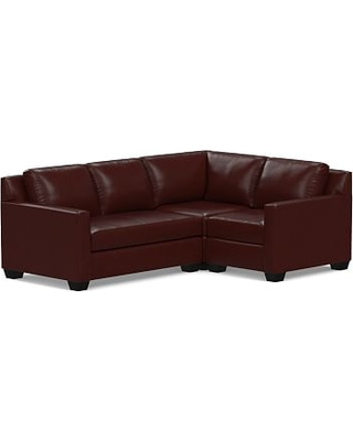 York Square Arm Leather Left Arm 3-Piece Corner Sectional with Bench Cushion, Polyester Wrapped Cushions, Leather Signature Espresso