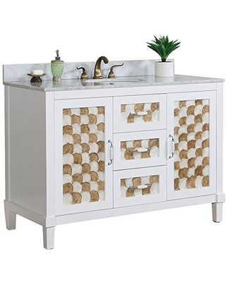 """InFurniture WB3648 48"""" Solid Wood Sink Vanity -No Countertop -No Faucet Solid Wood Sink Vanity with No Countertop/No Faucet, 48"""", White"""