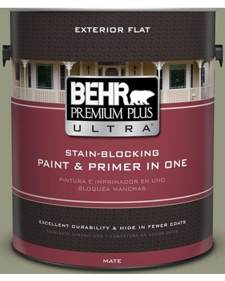 BEHR Premium Plus Ultra 1 gal. #S380-5 Milkweed Pod Flat Exterior Paint and Primer in One