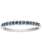 1/6 cttw Blue Diamond Ring Wedding Band in .925 Sterling Silver Prong Set Round