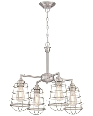 Westinghouse Nolan 4-Light Brushed Nickel Chandelier/Semi-Flush Mount with Cage Shades