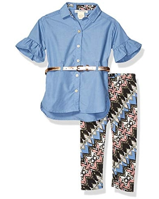 One Step Up Girls' Toddler Woven Tunic and Legging Set, Blue Multi Print, 2T