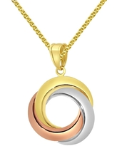 14k Two-tone Gold Nautical Anchor Jesus Pendant with 1.5-mm Flat Wheat Chain