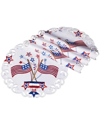 XIA Home Fashions Star Spangled Embroidered Cutwork Round Placemats, 15-in, Set of 4 Polyester | XD171051500