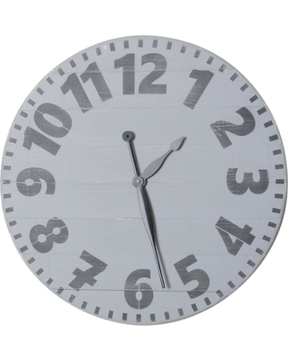 BrandtWorks 36 in. Oversized Gray Industrial Style Wall Clock, Industrial Gray/Blue