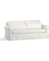 """York Roll Arm Slipcovered Deep Seat Sofa 84"""" with Bench Cushion, Down Blend Wrapped Cushions, Performance Slub Cotton White"""