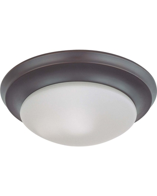 Glomar 1-Light Mahogany Bronze Flush Mount Twist and Lock with Frosted White Glass
