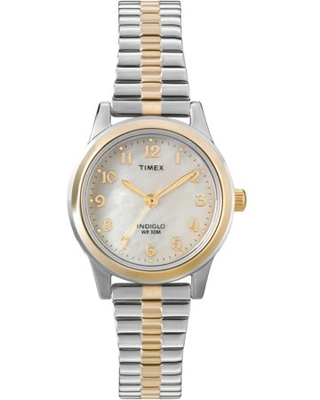 Timex Women's Essex Avenue 25mm Watch – Gold-Tone Case Mother-of-Pearl Dial with Two-Tone Stainless Steel Expansion Band