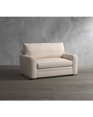 Pearce Square Arm Upholstered Twin Sleeper Sofa, Polyester Wrapped Cushions, Vintage Stripe Khaki/Ivory