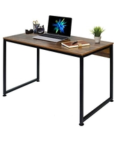 """VECELO 47"""" Computer Desk Home Office Writing Laptop Table for Study Studio Work, Brown"""