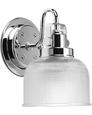 Progress Lighting Archie Collection 5.75 in. 1-Light Chrome Bath Sconce with Clear Prismatic Glass Shade