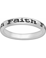 Stacks and Stones Sterling Silver Black Enamel Faith Stack Ring, Women's, Size: 8, Grey
