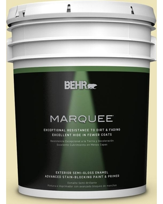 BEHR MARQUEE 5 gal. #PPU9-13 Yellow Wax Pepper Semi-Gloss Enamel Exterior Paint and Primer in One