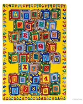 """Allstar Kids Learn Alphabet Letters Numbers Cubes Rug (4' 11""""x6' 10"""" - Canary)"""