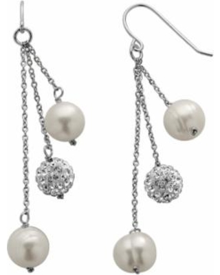 79dc3421c PearLustre by Imperial Freshwater Cultured Pearl and Crystal Sterling  Silver Linear Drop Earrings, Women's,