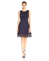 Donna Ricco Women's Sleeveless Solid Fit-and-Flare Dress with Lace On Hem, Navy, 12