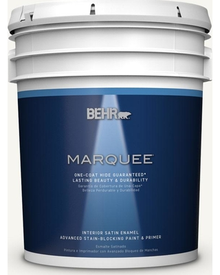 BEHR MARQUEE 5 gal. Home Decorators Collection #hdc-WR16-01 Snow Day Satin Enamel Interior Paint & Primer
