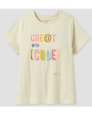 Women's Plus Size Short Sleeve 'Create With Code' Graphic T-Shirt - Cat & Jack Cream 2X, Ivory