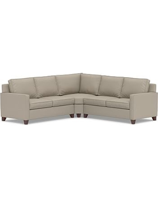 Cameron Square Arm Upholstered 3-Piece L-Shaped Wedge Sectional, Polyester Wrapped Cushions, Performance Brushed Basketweave Sand