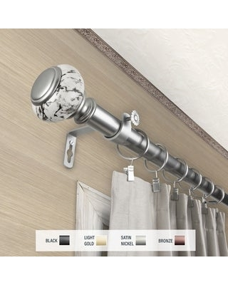 InStyleDesign Brooklyn 1 inch Diameter Adjustable Curtain Rod (Satin Nickel - 48 to 84 inches)