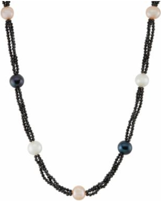 """""""Dyed Freshwater Cultured Pearl & Black Spinel Station Necklace, Women's, Size: 18"""""""""""