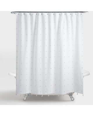 White and Ivory Embroidered Pom Pom Ellie Shower Curtain by World Market