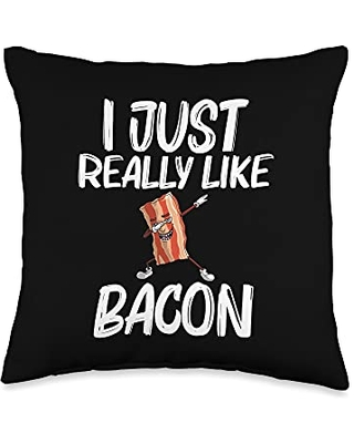 Best Bacon Eater Breakfast Brunch Picnic Clothes Funny Gift for Men Women Bacon Strips Foodie Lovers Throw Pillow, 16x16, Multicolor