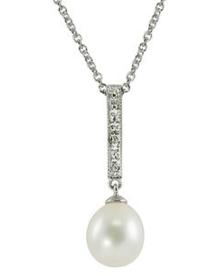 """Pearls For You Sterling Silver White Freshwater Drop Pearl and Diamond Accent Pendant (8.5-9 mm) (18"""" STG 8.5-9MM WHITE FWP & DIA PEND)"""