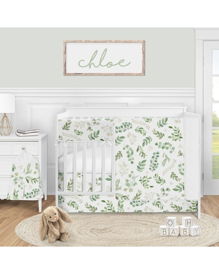 Floral Leaf Collection Girl 5pc Nursery Crib Bedding Set - Green White Boho Watercolor Botanical Woodland Tropical Garden (Nature/Flowers)