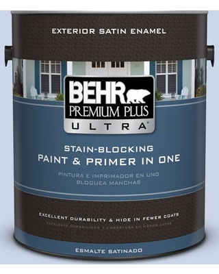 BEHR Premium Plus Ultra 1 gal. #590A-2 Monet Lily Satin Enamel Exterior Paint and Primer in One